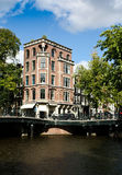 Corner building in amsterdam Stock Images