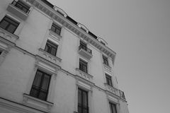 Corner building black and white Stock Photography