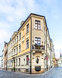 Corner building in center of old Riga city, Latvia Stock Photography
