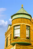 Corner Building Decorah. A lovely looking corner building in Decorah Iowa stock image