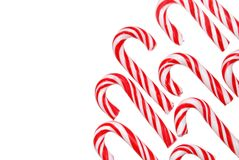 Corner canes. Candy canes in corner on white Stock Images