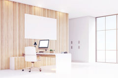 Corner of CEO office with window, computer, toned Stock Photos