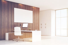 Corner of CEO office with window and poster, toned Royalty Free Stock Photography