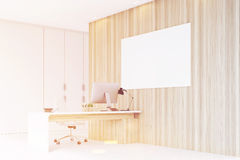 Corner of CEO office, wooden wall, poster, toned Royalty Free Stock Images