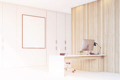 Corner of CEO office with wooden wall, toned Royalty Free Stock Photo