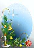 Corner of the Christmas tree with candle. Corner of the Christmas tree with candle and balls on blue background.Postcard vector illustration