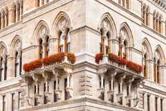 Corner of cityhall historic building in Vienna Royalty Free Stock Image
