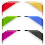 Corner color ribbons vector set Royalty Free Stock Photo