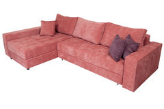 Corner convertible sofa-bed with storage space, upholstery soft Stock Photos