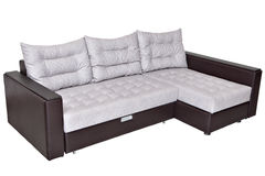 Corner convertible sofa-bed with storage space, upholstery soft Stock Photo