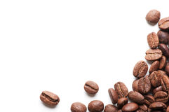 Corner decoration of coffee beans on white background. With spase for some text Royalty Free Stock Photo