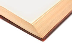 Corner detail of a blank page in a hardback book Royalty Free Stock Images