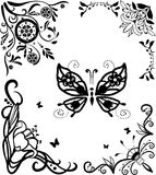 Corner doodle graseful set with butterfly Royalty Free Stock Image