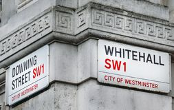 Corner of Downing Street and Whitehall in the City of Westminster, London, England, UK. 10 Downing Street is the office of British Royalty Free Stock Photos