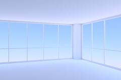 Corner of empty blue business office room with two large windows. Business architecture office room interior - corner of empty blue business office room with two Royalty Free Stock Photos