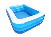 Corner empty inflatable rubber pool Stock Photos