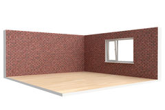 Corner of  empty room with  floor, wall and window Royalty Free Stock Photo