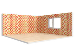 Corner of  empty room with  floor, wall and window Stock Images