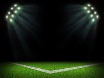 Corner of empty stadium with bright spotlights Stock Photography