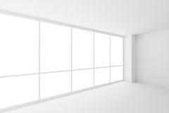 Corner of empty white business office room with large windows. Business architecture white colorless office room interior - corner of empty white business office Royalty Free Stock Photography