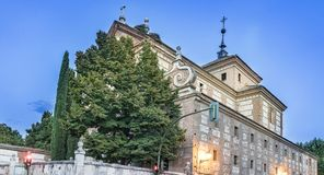 Corner of the façade of the college of the Trinitarians, an old church built in the sixteenth century and current library of the. University of Alcala de stock photo