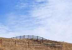 Corner of a Fenced Pasture on a Hilltop Stock Photography