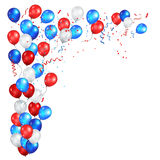 Corner festive color balloons. Color holiday balloons in traditional colors - red, white, blue. Greeting Card for American Independence Day, 4th of July Royalty Free Stock Images
