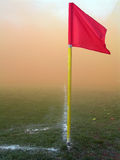 Corner flag. On soccer ground stock images