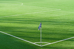 Corner flag marking background in soccer field Royalty Free Stock Photos