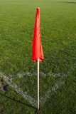 Corner flag on an soccer field. Red corner flag on an soccer field Stock Photography