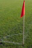 Corner flag on an soccer field. Red corner flag on an soccer field Stock Photo