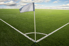 Corner flag on soccer field Royalty Free Stock Images