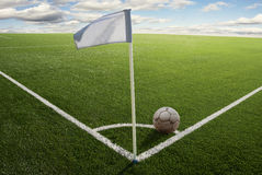 Corner flag on soccer field Stock Photography