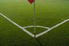 Corner flag. On soccer field Royalty Free Stock Image