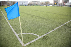 Corner flag on an soccer field Stock Image