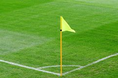 Corner flag on an soccer field Stock Photos