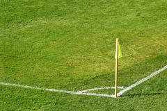 Corner flag of a soccer ground Stock Photo