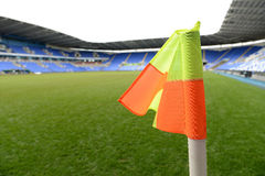 Corner flag in a soccer stadium Royalty Free Stock Images