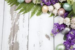Corner Floral Frame Easter Theme stock photos