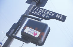 Corner of Florence and Normandie Avenues, South Central Los Angeles, California Stock Photography