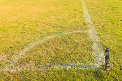 Corner of football or soccer field Royalty Free Stock Photo