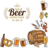 Corner frame of beer icons Stock Images