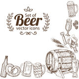 Corner frame of beer icons Royalty Free Stock Photo