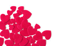 Corner frame with felt hearts. Wedding and Valentine's day frame Royalty Free Stock Photo