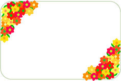 Corner frame made of red and yellow flowers Royalty Free Stock Image