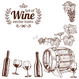 Corner frame of sketch wine icons Royalty Free Stock Images