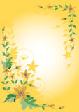 Corner, the frame of yellow flowers. Background.Ba Stock Photos