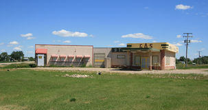 Corner Gas. Outdoor filming location for the Canadian sitcom 'Corner Gas' in Rouleau (Dog River), Saskatchewan, Canada Stock Images