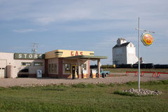 Corner Gas Station. ROULEAU, SASKATCHEWAN: The outdoor filming location for the TV sitcom 'Corner Gas' on August 3rd, 2006 in Rouleau, Saskatchewan, Canada Stock Images