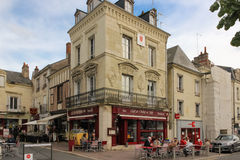 A corner at General de Gaulle square. Chinon. France Stock Image